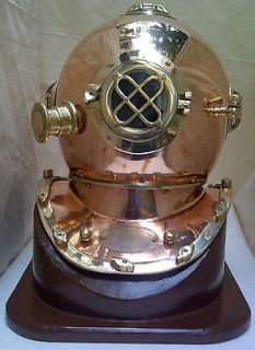 DIVER DIVING HELMET US NAVY MARK V ANTIQUE 18 BRASS DIVER HELMET WITH