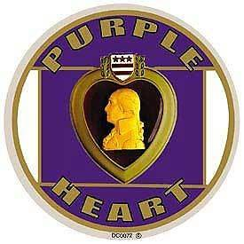PURPLE HEART MEDAL MILITARY GOLD PURPLE ROUND STICKER DECAL