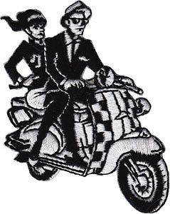 SKA rude boy / girl on scooter EMBROIDERED PATCH  vespa *