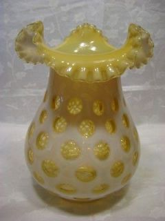 FENTON HONEYSUCKLE COIN DOT GLASS LAMP SHADE LARGE VINTAGE TOPAZ