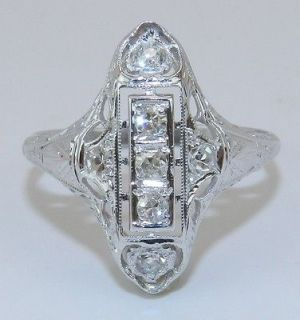 Antique Art Deco 18K White Gold Diamond Filigree Ring Circa 1920s