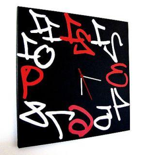 large wall clock black red white modern design 16x16 original clock