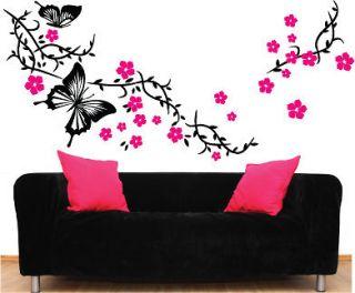 Butterfly Flower Vinyl Wall Art Stickers, Decals 057