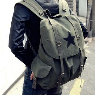 VINTAGE CANVAS CASUAL GREENISH BROWN MENS WOMENS BOYS BACKPACK BAGS