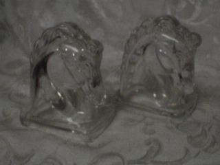 1940 VINTAGE ANIMAL FEDERAL GLASS HORSE HEAD BOOKENDS BOOK ENDS CANDY