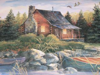 YORK LOG CABIN DEER BOAT GEESE WOODLANDS WALLPAPER BORDER