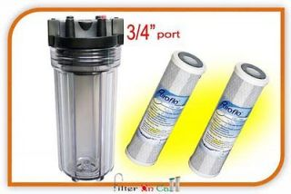 Whole House Water Filter Housing 3/4 Ports & 2 Carbon Filter Standard
