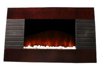 Deluxe Wood Wall Mount Electric Fireplace Space Heater 1500 Watts