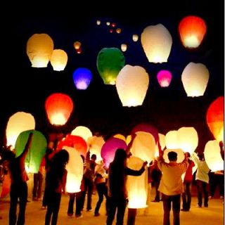 Multi Color Chinese Lanterns Sky Fly Candle Lamp for Wish Party Weddin