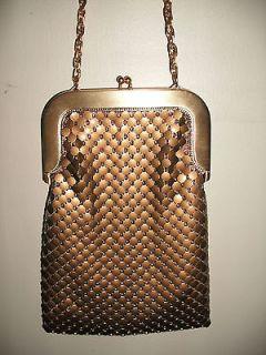 Vintage 50s Whiting & Davis Gold Tone Metal Mesh Shoulder Bag USA