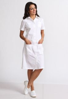Cassidy Button Front 4 Pocket WHITE Nurse Uniform Scrub Dress XS 3XL