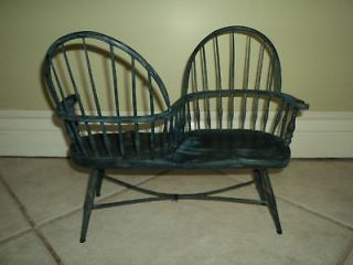 HANDMADE DOLLHOUSE GOSSIP BENCH BOW BACK WINDSOR CHAIR