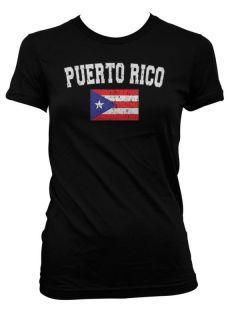 Puerto Rico Country Flag Juniors T Shirt Girls Baseball