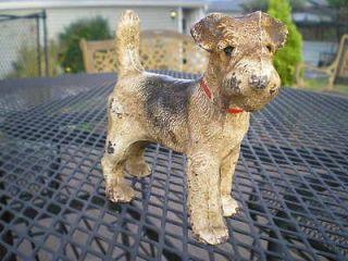 Antique HUBLEY FOX TERRIER DOG Cast Iron Doorstop Porch Art Toy FREE