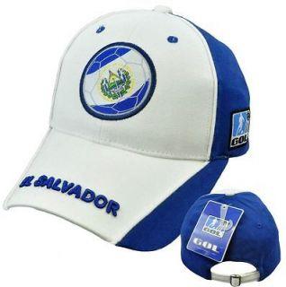 El Salvador Hat Cap Gorra Cachucha Soccer Flag Futbol Football White