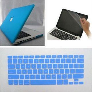 blue Rubberized Hard Case Cover For Macbook Pro 13+Keyboard+Screen