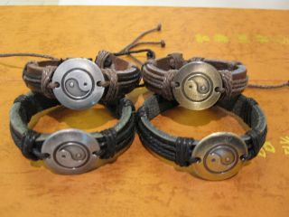 YIN YANG, HEMP LEATHER WRISTBAND FRIENDSHIP BRACELET, BUY 2 GET 1