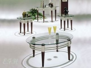3PC MARSEILLE GLASS TOP CHERRY WOOD COFFEE TABLE SET