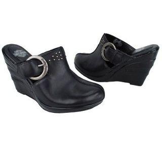 NEW Harley Davidson Anna Black Leather Womens Platform Clogs