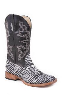 Roper Ladies Black Silver Glitter ZEBRA Square Toe Cowboy Boots 5 6 7