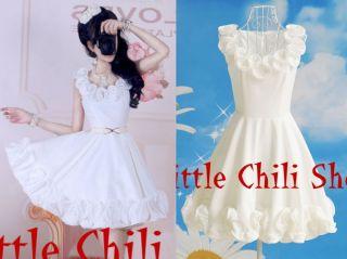 Sweet PUNK NANA Wedding GOTHic Party ALICE falbalas White DRESS S~L