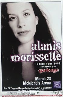 ALANIS MORISSETTE / GARBAGE 1999 DENVER CONCERT TOUR POSTER  Rock