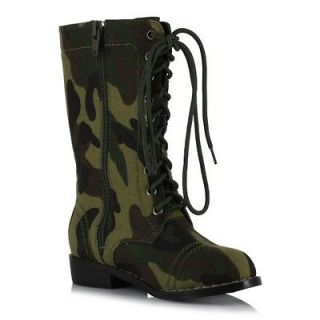MILITARY SOLDIER ARMY COSTUME LACE UP LACES ANKLE BOOTS KIDS CHILDREN