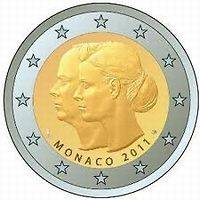 o comemorative coin Monaco 2011 Mariage Albert II and Charlene unc