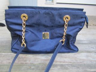 Vintage 1990s MCM Munchen Navy Blue Tote bag Handbag gold chain
