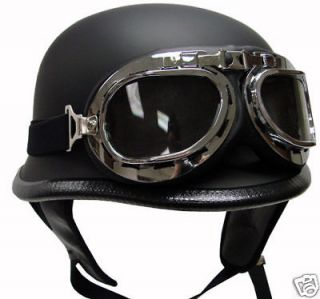 German Matte/Flat BLACK Motorcycle Half Helmet Street Biker DOT+Pilot
