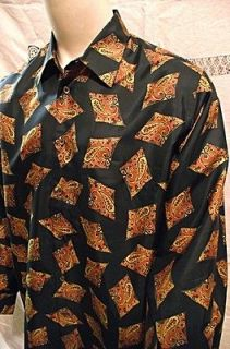 NEW Jim Thompson Silk Mens Shirt Green with Paisley Diamonds Large LS
