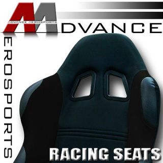 2x Universal Black Fabric & PVC Leather Sport Racing Bucket Seats