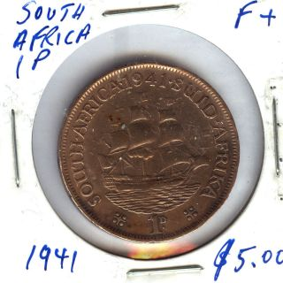1941, SOUTH AFRICA 1 PENNY, F+ COIN