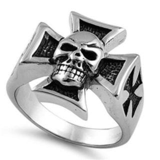 Mens Stainless Steel Iron Cross & Skull Biker Ring   Sizes 9 15   New
