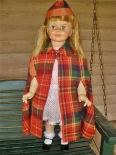Vtg 50s 60s Red Tartan Plaid Patti Playpal Doll Toddler Child Cape