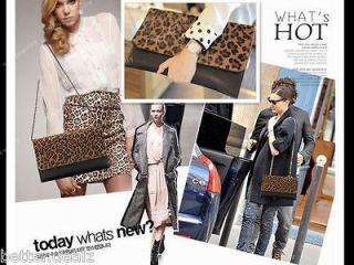 Big Size Womens Leopard Print Clutch/Shoulder Handbag Envelope Evening