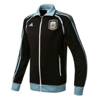 New Adidas Mens ARGENTINA TRACK TOP Soccer Football Black Blue Jersey