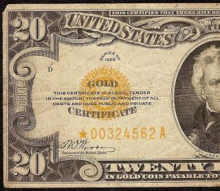 1928 $20 DOLLAR BILL * STAR * GOLD CERTIFICATE COIN NOTE PAPER MONEY