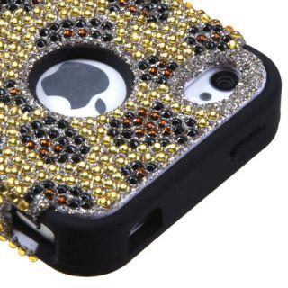 Apple iPhone 4 4S Hybrid Case Soft Skin Cover Golden Leopard Black