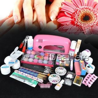 9W UV pink dryer lamp 30 color Acrylic Powder Nail Art gel tools Set