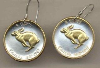 Gold/Silver Coin Earrings, Canadian Centennial 5 Cent Rabbit