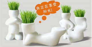 DIY mini White Man Plant Ceramic Porcelain Grass garden table Planting