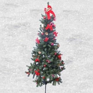 Indoor Pre decorated w/ 16 Bows Bells Balls Christmas Tree & Stand