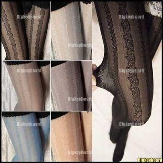 New Womens Ladies Lace Stripe Pattern Jacquard Stockings Tights