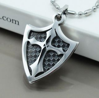 NEW Chrome Silver & Black Dog Tags Knights Shield Cross Mens Pendants