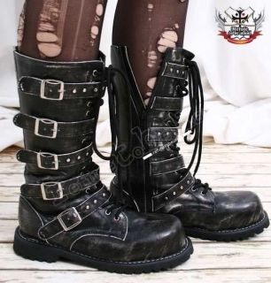 Visual Kei/Gothic/CYB​ER 5 strap BOOT 7/7.5 ASH BLACK 37