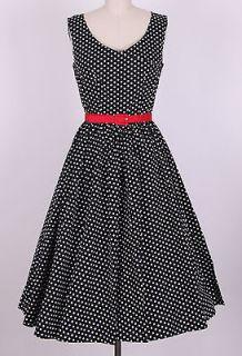 50s Audrey Hepburn Style Little Black Dots Dress Size S Pinup