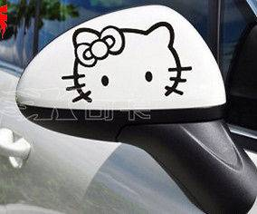 PCS Hello Kitty Logo Decal Car Sticker Rearview Mirror In Black