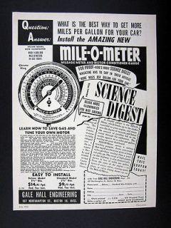 Gale Hall Engineering Mile O Meter MPG Instrument & Motor Gauge 1952