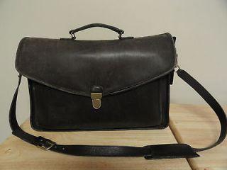 Vintage Black COACH LEATHER Briefcase/Attache/Laptop Bag No.0977 309